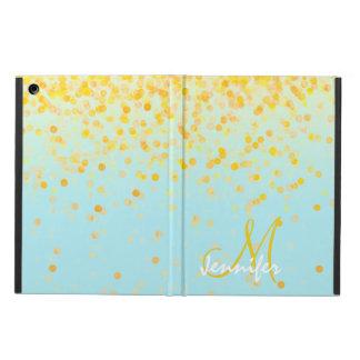 Girly golden yellow confetti turquoise ombre name iPad air case