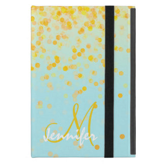 Girly golden yellow confetti turquoise ombre name iPad mini cover