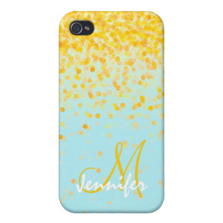 Girly golden yellow confetti turquoise ombre name iPhone 4/4S case