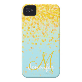 Girly golden yellow confetti turquoise ombre name iPhone 4 Case-Mate cases