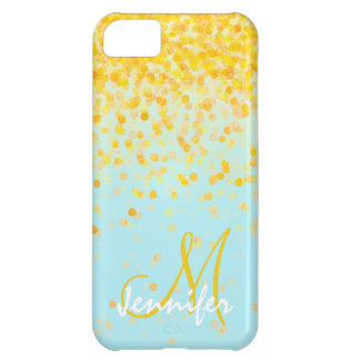 Girly golden yellow confetti turquoise ombre name iPhone 5C case