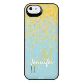 Girly golden yellow confetti turquoise ombre name iPhone SE/5/5s battery case