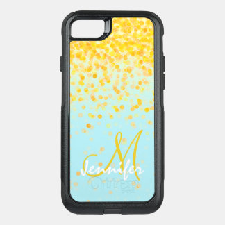 Girly golden yellow confetti turquoise ombre name OtterBox commuter iPhone 7 case