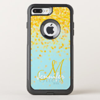 Girly golden yellow confetti turquoise ombre name OtterBox commuter iPhone 8 plus/7 plus case
