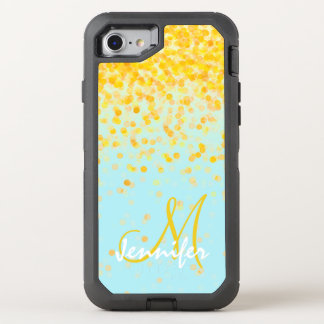 Girly golden yellow confetti turquoise ombre name OtterBox defender iPhone 7 case