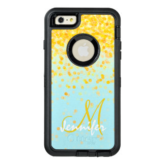 Girly golden yellow confetti turquoise ombre name OtterBox defender iPhone case