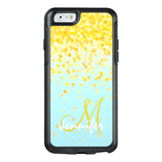 Girly golden yellow confetti turquoise ombre name OtterBox iPhone 6/6s case