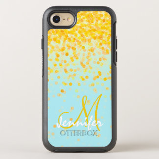 Girly golden yellow confetti turquoise ombre name OtterBox symmetry iPhone 8/7 case