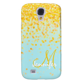 Girly golden yellow confetti turquoise ombre name samsung galaxy s4 cover