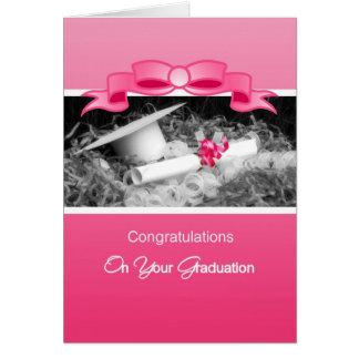 Girly Graduation Congratulations Pink Riboon Card