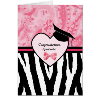 Girly Graduation Congratulations Zebra Pattern Greeting Card