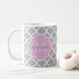 Girly Gray Quatrefoil Lavender Monogram and Name Coffee Mug
