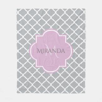 Girly Gray Quatrefoil Lavender Monogram and Name Fleece Blanket