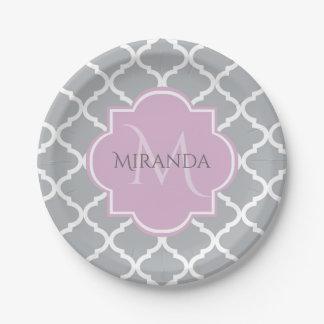 Girly Gray Quatrefoil Lavender Monogram and Name Paper Plate