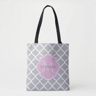 Girly Gray Quatrefoil Lavender Monogram and Name Tote Bag