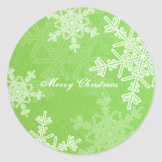 Girly green and white Christmas snowflakes Round Sticker
