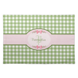 Girly Green Gingham Monogram With Name Placemat