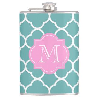 Girly Green Quatrefoil Custom Pink Monogram Flask