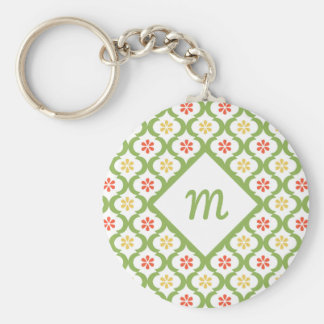 Girly Green Quatrefoil Cute Daisies and Monogram Key Ring
