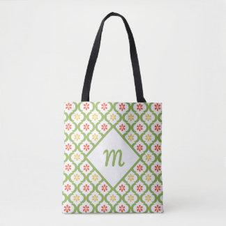 Girly Green Quatrefoil Cute Daisies and Monogram Tote Bag