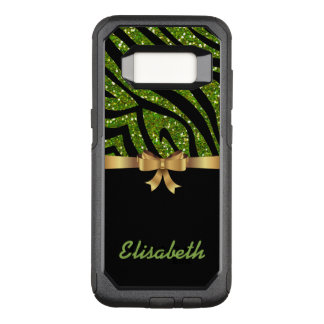 GIRLY GREEN ZEBRA glitter  black GOLD BOW monogram OtterBox Commuter Samsung Galaxy S8 Case