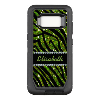 GIRLY GREEN ZEBRA glitter printed Diamond monogram OtterBox Defender Samsung Galaxy S8 Case