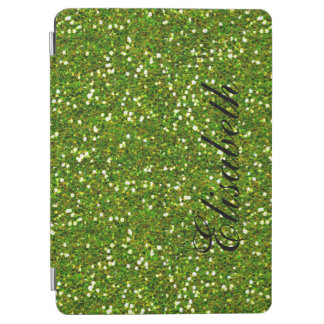 GIRLY GREENERY GREEN GLITTER PRINTED PERSONALIZED iPad AIR COVER