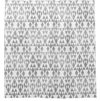 Girly Grey Aztec White Custom Shower Curtain