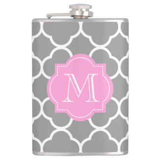 Girly Grey Quatrefoil Custom Pink Monogram Flask