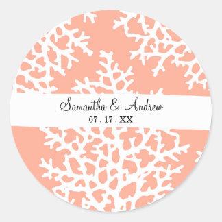 Girly hand drawn white sea coral on blush salmon classic round sticker