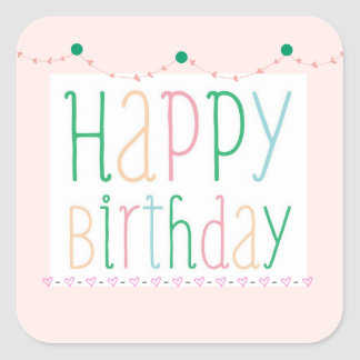 Girly Happy Birthday Stickers