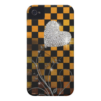 Girly  heart and checkers pattern iPhone 4 Case-Mate case