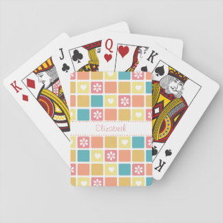Girly Heart Square Pattern Retro Daisy Flowers Deck Of Cards