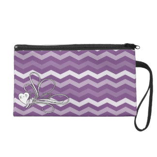 Girly Heart Swirl Purple Chevron Wristlet