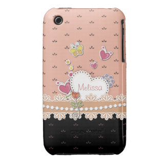 Girly Hearts Personalized iPhone 3gs Case