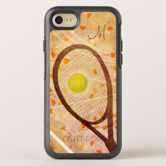 girly hearts tennis love monogrammed OtterBox symmetry iPhone 8/7 case