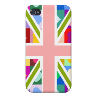 Girly Hearts Union Jack iPhone 4 Covers