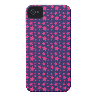 Girly Hot Pink and Purple Stars Pattern Gifts iPhone 4 Case