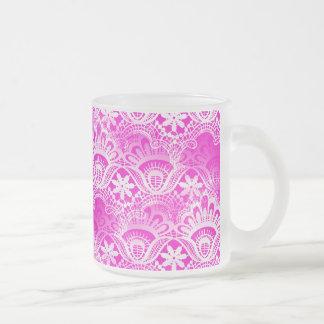 Girly Hot Pink Fuchsia White Lace Damask Frosted Glass Coffee Mug