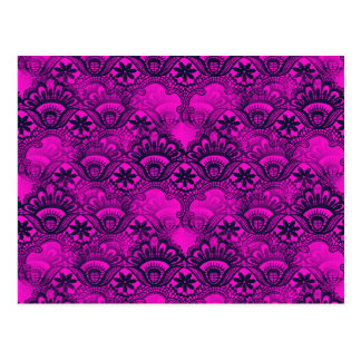 Girly Hot Pink Fuschia Navy Blue Damask Lace Postcard