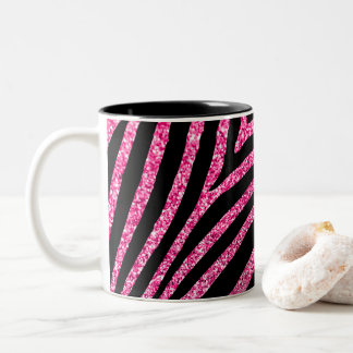 Girly Hot Pink Glitter and Black Zebra Stripe Two-Tone Coffee Mug