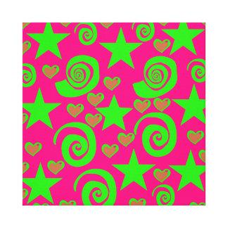 Girly Hot Pink Lime Green Stars Hearts Swirls Gift Canvas Print