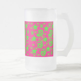 Girly Hot Pink Lime Green Stars Hearts Swirls Gift Frosted Glass Beer Mug