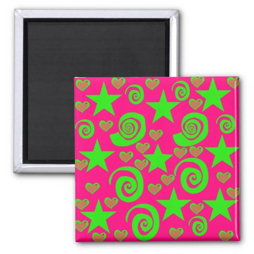 Girly Hot Pink Lime Green Stars Hearts Swirls Gift Refrigerator Magnets