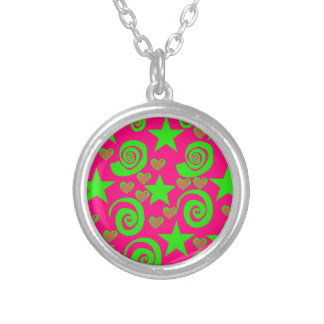 Girly Hot Pink Lime Green Stars Hearts Swirls Gift Necklace