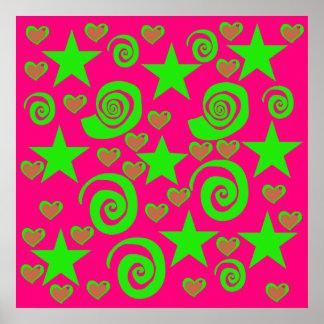 Girly Hot Pink Lime Green Stars Hearts Swirls Gift Print