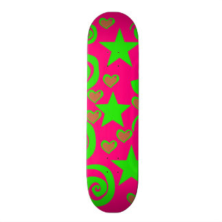 Girly Hot Pink Lime Green Stars Hearts Swirls Gift Skateboard
