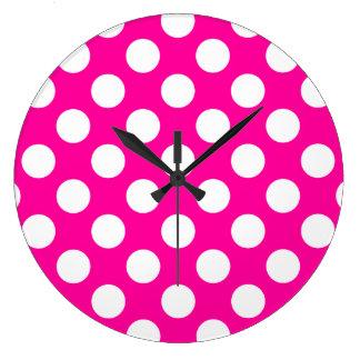 Girly Hot Pink Polka Dot Pattern Large Clock