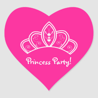 Girly Hot Pink Princess Party With Tiara Crown Heart Sticker
