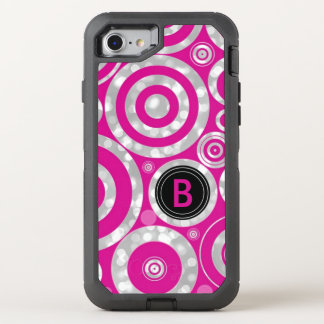 Girly Hot Pink Silver Bokeh | Monogrammed Funky OtterBox Defender iPhone 8/7 Case